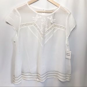 NWT Hinge Sheer Ivory Embroidered Lace trim Top